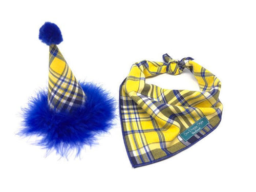 Birthday Set - Yellow and Blue Plaid hat and Matching Bandana, Blue Dog Bandana, Dog Birthday Accessories Dog Birthday Set