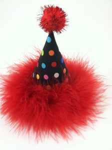 Dog Birthday Hat, Cat Birthday Hat, Multicolor Polka Dot Party Hat