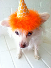 Load image into Gallery viewer, Dog Party Hat, Cat Party Hat, Orange Polka Dot