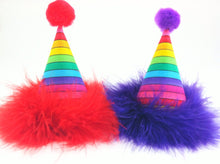 Load image into Gallery viewer, Rainbow Birthday Hat, Rainbow Party Supplies, Dog Birthday Hat, Cat Birthday Hat, Rainbow, Pride