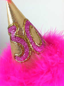 Birthday Party Hat, Hot Pink and Gold