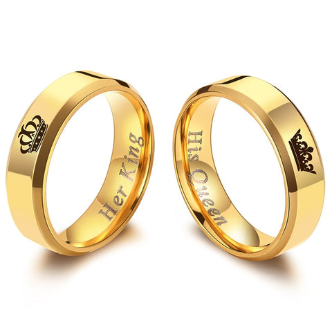 Her King His Queen  Gold Color or Black Titanium Couple Rings for  Gift giving
