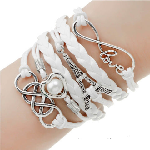 Fashion Jewelry Double Leather Multilayer Charm  Bracelet for Women
