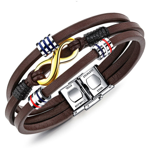Brown  Infinity Stainless Steel  and Leather Wrap Bracelet
