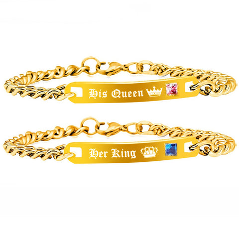 Gold Color King & Queen Bracelets For Women and Men. Luxury Couple Bracelets  with Crystal Stone