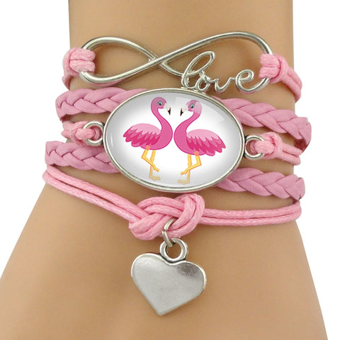 Leather Wrap  Flamingo and Love  Charm  Bracelet for  Women