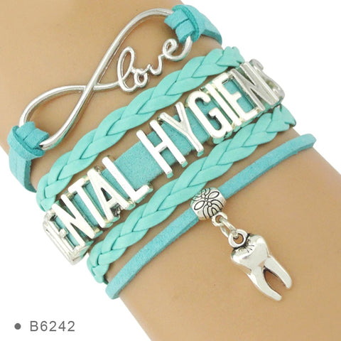 Dental Hygenist Leather Wrap Bracelets with charms for Women