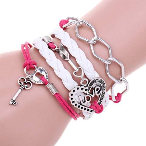 Handmade Leather Paracord Fashion Bracelet with Key and Heart Charm
