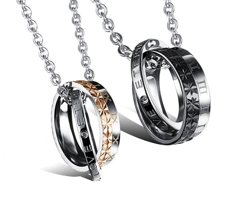 ETERNAL LOVE Stainless Steel Double Ring Necklaces for lovers