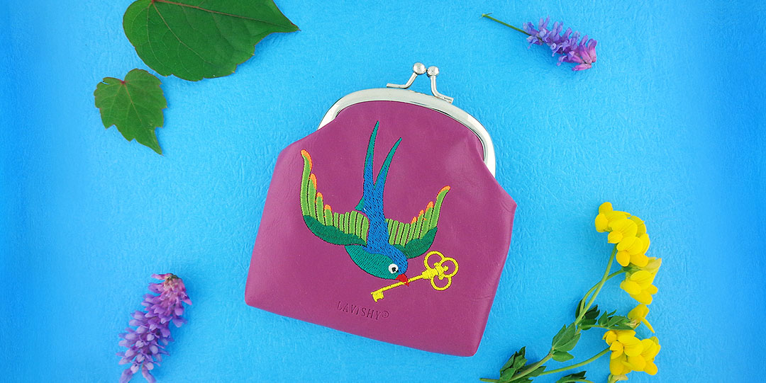 Online shopping for LAVISHY swallow bird brings you key of love embroidered kiss lock frame coin purse