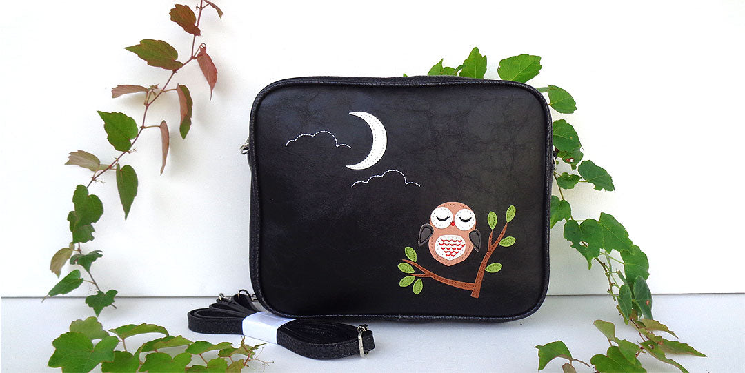 Online shopping for LAVISHY's vegan cross body bag with adorable owl applique