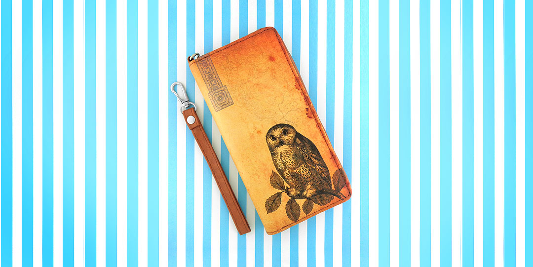 Online shopping for LAVISHY vintage style owl print vegan unisex large wristlet wallet