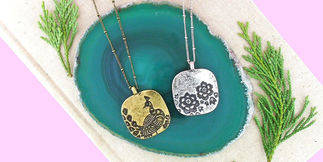 Online shopping for LAVISHY handmade vintage style peacock reversible pendant necklaces