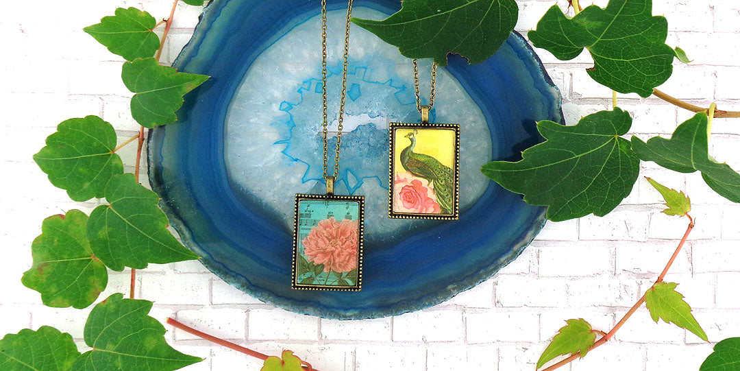 Online shopping for LAVISHY vintage style reversible pendant necklace feature prints of peacock and peony flower