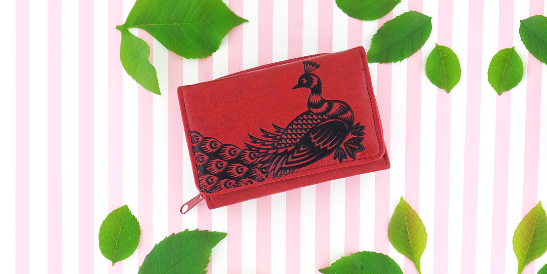 Online shopping for LAVISHY peacock emboss vegan small tri-fold wallet