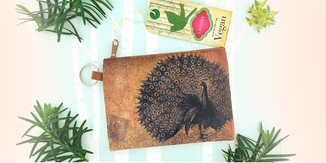 Online shopping for LAVISHY vintage style printed peacock vegan key ring coin purse