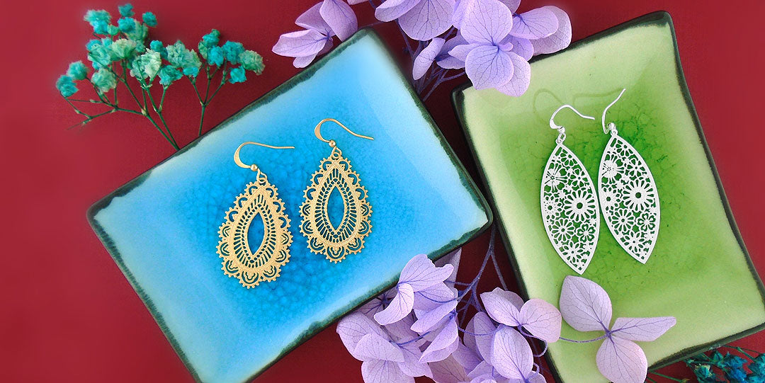 Online shopping for LAVISHY silver and gold plated original and beautiful filigree earrings
