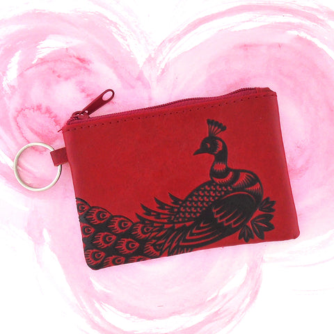 LAVISHY emboosed peacock vegan leather key ring coin purse from Akina collection