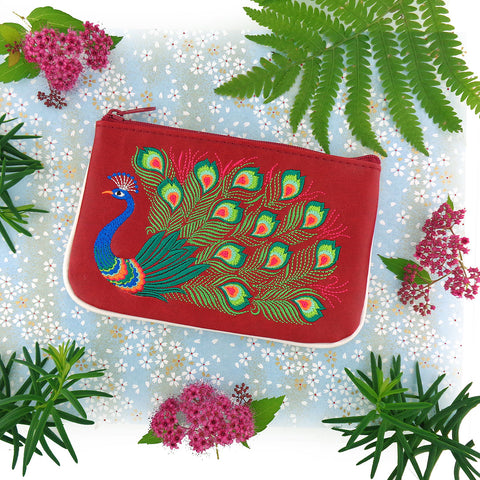 LAVISHY embroidered peacock vegan leather small pouch