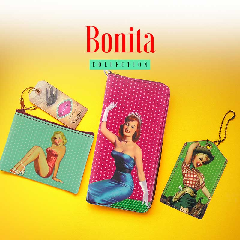 Shop PETA approved vegan brand LAVISHY's funky retro themed vegan wallets, wristlets, coin purses and travel accessories