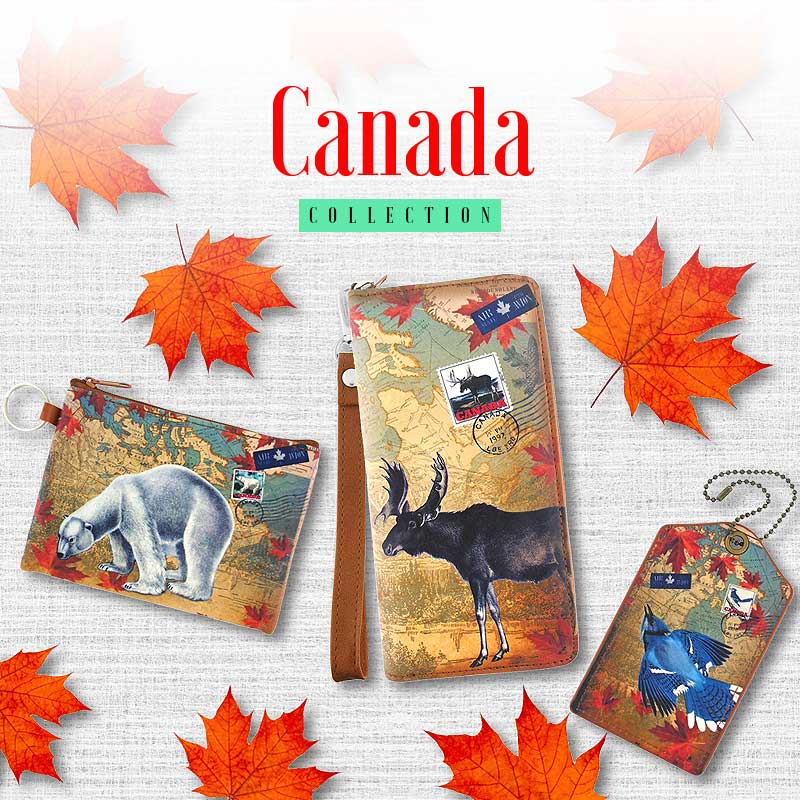 Shop online for PETA approved vegan brand LAVISHY's Canada themed unisex bags, wallets, coin purses and travel accessories.