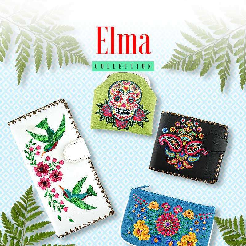 Shop online for PETA approved vegan brand LAVISHY's signature collection Elma that feature embroidered vegan bags, wallets, pouches, coin purses, beauty, teach and travel accessories.