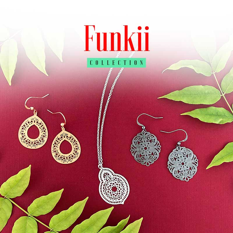 Shop online for the most popular fashion jewelry collection designed by PETA approved vegan brand LAVISHY since 2001, Funkii collection features intricate filigree pendant earrings and matching necklaces with beautiful and intricate details.