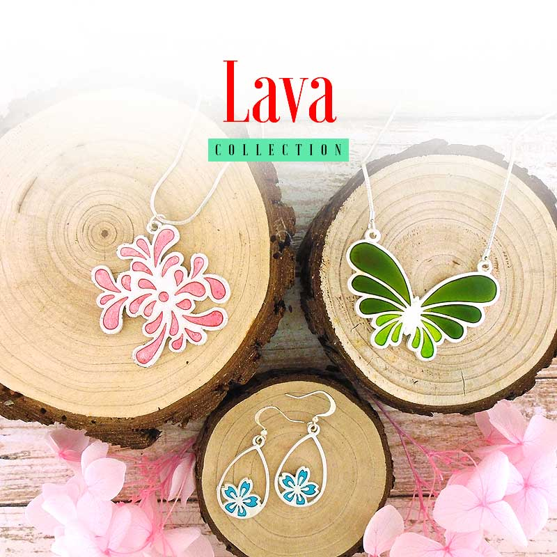 Shop online for handmade silver plated colorful enamel necklaces, earrings, rings and bracelets designed by LAVISHY