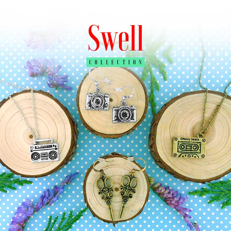 Shop online for retro style fashion jewelry from Swell collection designed by PETA approved vegan brand LAVISHY.