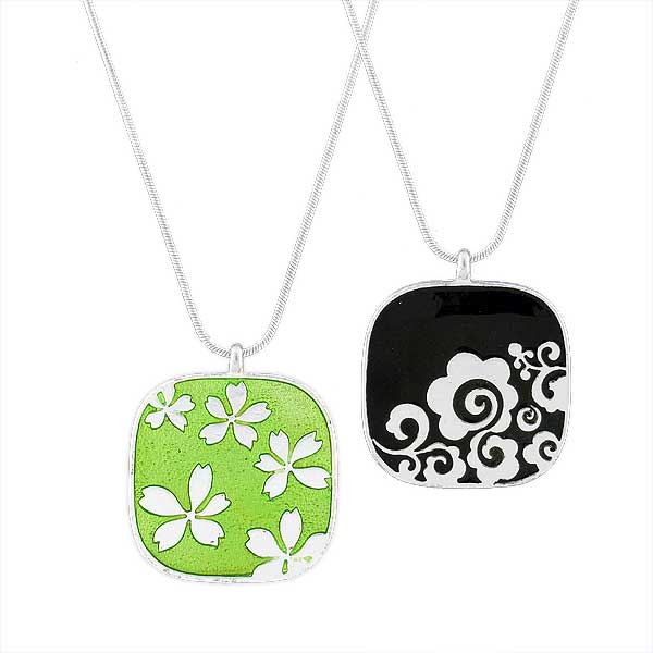 Online shopping for LAVISHY's handmade silver plated reversible pendant necklace with Japanese cherry blossom flower & geometric pattern enamel pattern. Great for everyday wear & lovely gift for friends & family. Wholesale at www.lavishy.com for gift shops, boutiques in Canada, USA & worldwide since 2001.