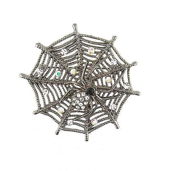 CO-126: Austrian crystal studded spider brooch