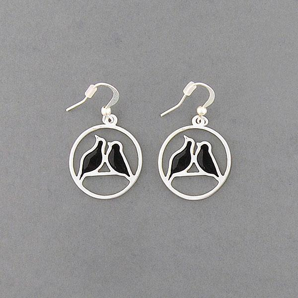 Shop LAVISHY handmade silver plated enamel love birds earrings. A great gift for you or your girlfriend, wife, co-worker, friend & family. Wholesale available at www.lavishy.com with many unique & fun fashion accessories for gift shops and boutiques in Canada, USA & worldwide.