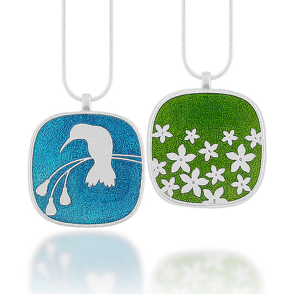 Online shopping for LAVISHY's handmade silver plated reversible pendant necklace with colorful hummingbird & flower enamel motifs. Great for everyday wear & lovely gift for friends & family. Wholesale at www.lavishy.com for gift shops, clothing & fashion accessories boutiques in Canada, USA & worldwide since 2001.
