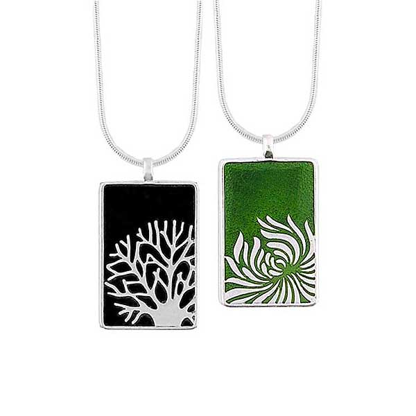 Online shopping for LAVISHY handmade silver plated reversible tree & Chrysanthemum flower enamel necklace. Great for everyday wear, as gifts for family & friends. Wholesale available at www.lavishy.com with many unique & fun fashion accessories for gift shops and boutiques in Canada, USA & worldwide.