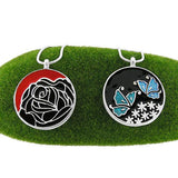 Shop LAVISHY handmade silver plated reversible rose & butterfly enamel necklace. A great gift for you or your girlfriend, wife, co-worker, friend & family. Wholesale available at www.lavishy.com with many unique & fun fashion accessories for gift shops and boutiques in Canada, USA & worldwide.