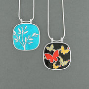 Shop LAVISHY handmade silver plated reversible butterfly & tree enamel necklace. A great gift for you or your girlfriend, wife, co-worker, friend & family. Wholesale available at www.lavishy.com with many unique & fun fashion accessories for gift shops and boutiques in Canada, USA & worldwide.