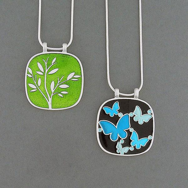 Online shopping for LAVISHY handmade silver plated reversible butterfly & tree enamel necklace. Great for everyday wear, as gifts for family & friends. Wholesale available at www.lavishy.com with many unique & fun fashion accessories for gift shops and boutiques in Canada, USA & worldwide.