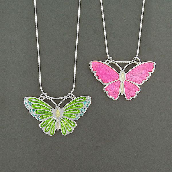 Online shopping for LAVISHY handmade silver plated reversible butterfly enamel necklace. Great for everyday wear, as gifts for family & friends. Wholesale available at www.lavishy.com with many unique & fun fashion accessories for gift shops and boutiques in Canada, USA & worldwide.