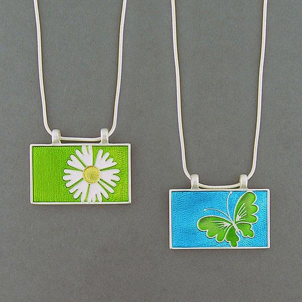Online shopping for LAVISHY handmade silver plated reversible daisy & butterfly enamel necklace. A great gift for you or your girlfriend, wife, co-worker, friend & family. Wholesale available at www.lavishy.com with many unique & fun fashion accessories for gift shops and boutiques in Canada, USA & worldwide.