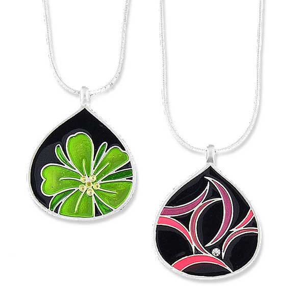 Online shopping for LAVISHY handmade silver plated reversible flower & geometric pattern enamel necklace. Great for everyday wear, as gifts for family & friends. Wholesale available at www.lavishy.com with many unique & fun fashion accessories for gift shops and boutiques in Canada, USA & worldwide.