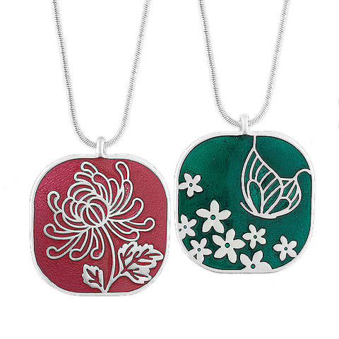 Online shopping for LAVISHY's handmade silver plated reversible pendant necklace with Chrysanthemum flower & Butterfly enamel pattern. Great for everyday wear & lovely gift for friends & family. Wholesale at www.lavishy.com for gift shops, boutiques in Canada, USA & worldwide since 2001.