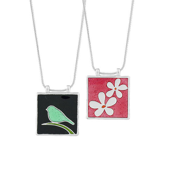 Online shopping for LAVISHY's handmade silver plated reversible pendant necklace with colorful bird & flower motifs. Great for everyday wear & lovely gift for friends & family. Wholesale at www.lavishy.com for gift shops, clothing & fashion accessories boutiques in Canada, USA & worldwide since 2001.