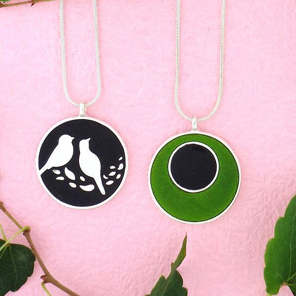Shop LAVISHY handmade silver plated reversible love birds & circle enamel necklace. A great gift for you or your girlfriend, wife, co-worker, friend & family. Wholesale available at www.lavishy.com with many unique & fun fashion accessories for gift shops and boutiques in Canada, USA & worldwide.