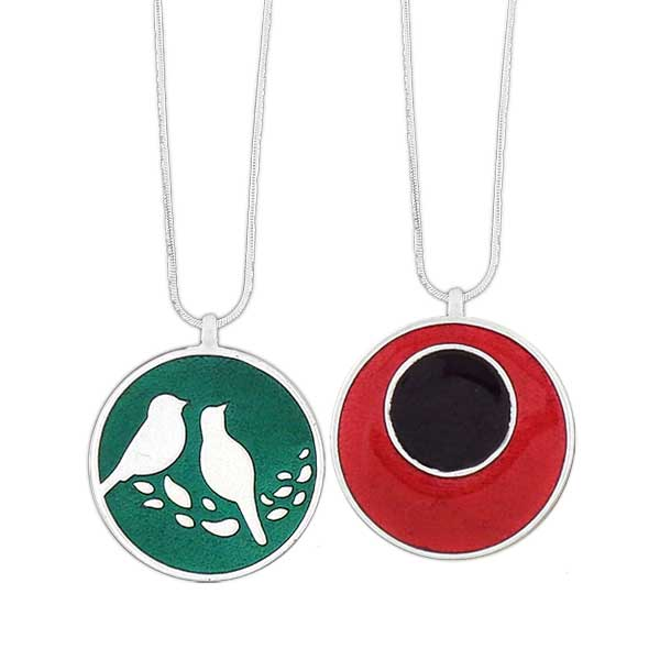 Online shopping for LAVISHY handmade silver plated reversible love birds & circle enamel necklace. Great for everyday wear, as gifts for family & friends. Wholesale available at www.lavishy.com with many unique & fun fashion accessories for gift shops and boutiques in Canada, USA & worldwide.