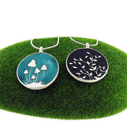 Online shopping for LAVISHY's handmade silver plated reversible pendant necklace with mushroom & leaf enamel pattern. Great for everyday wear & lovely gift for friends & family. Wholesale at www.lavishy.com for gift shops, boutiques in Canada, USA & worldwide since 2001.
