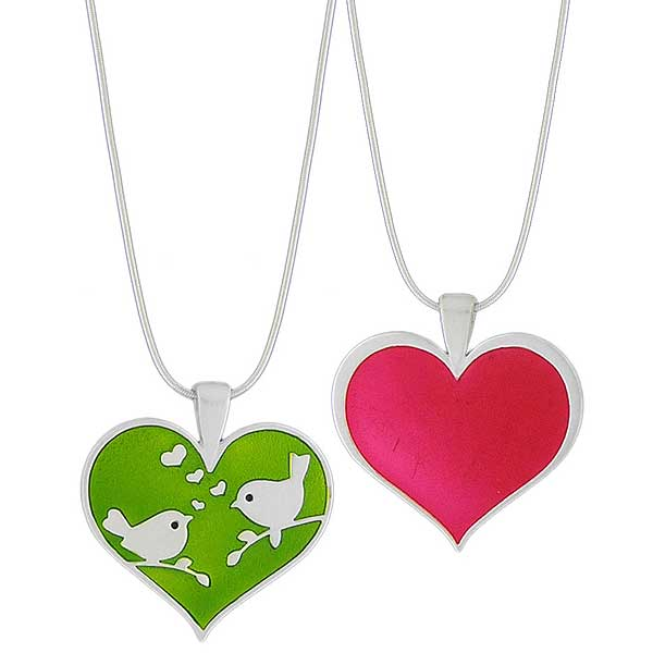 Online shopping for LAVISHY's handmade silver plated reversible pendant necklace with colorful love birds & heart enamel motifs. Great for everyday wear & lovely gift for friends & family. Wholesale at www.lavishy.com for gift shops, clothing & fashion accessories boutiques in Canada, USA & worldwide since 2001.