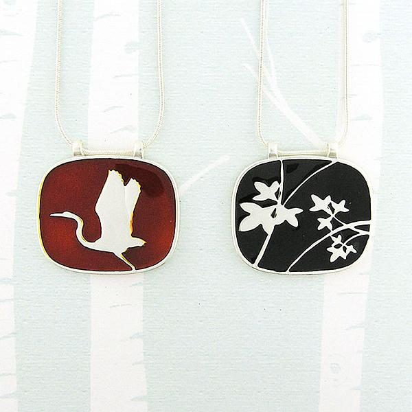 Online shopping for LAVISHY handmade silver plated enamel crane & leaf reversible pendant necklace. A great gift for you or your girlfriend, wife, co-worker, friend & family. Wholesale available at www.lavishy.com for gift shops and boutiques in Canada, USA & worldwide.