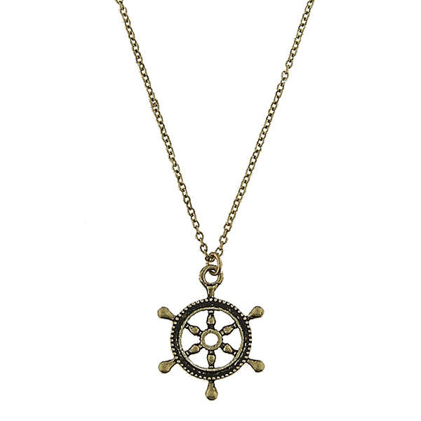 Online shopping for vintage style Boat wheel necklace from Riya collection by PETA approved vegan brand LAVISHY. Great gift for you or your girlfriend, wife, co-worker, friend & family. More fashion accessories for wholesale at www.lavishy.com for gift shop, clothing & fashion accessories boutique, book store since 2001.