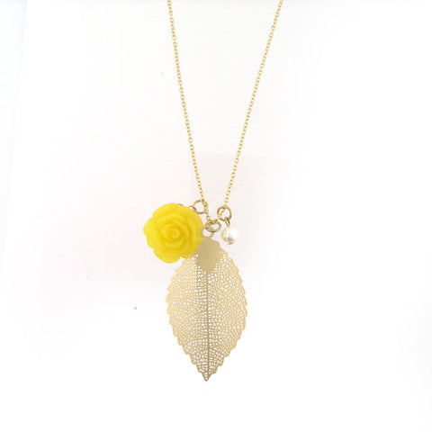 Shop LAVISHY's lovely & affordable resin Peony flower, silver or 12k gold plated filigree leaf pendant & fresh water pearl necklace. A great gift for you or your girlfriend, wife, co-worker, friend & family. Wholesale available at www.lavishy.com with many unique & fun fashion accessories.