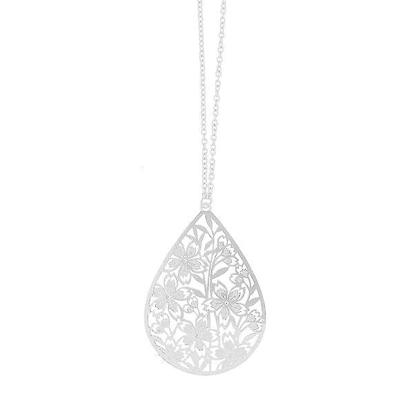 Shop PETA approved vegan brand LAVISHY's unique, beautiful & affordable light weight intricate filigree necklace feature lovely cherry blossom flower. A great gift for you or your girlfriend, wife, co-worker, friend & family. Wholesale available at www.lavishy.com with many unique & fun fashion accessories.